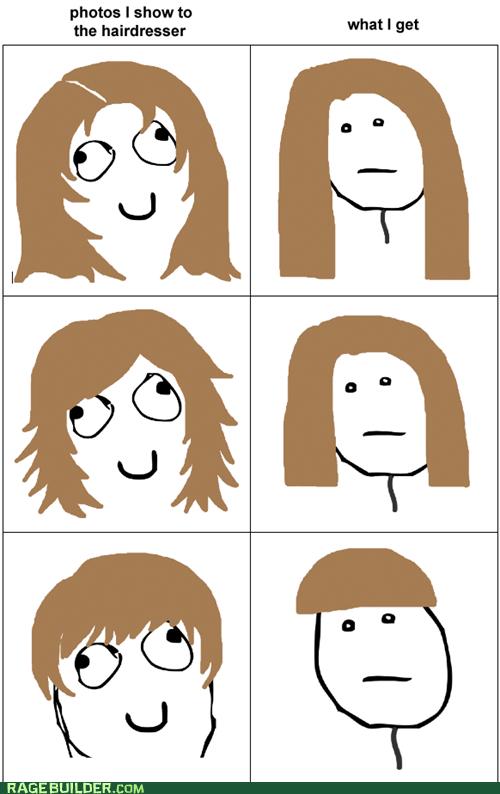 hair hairdresser poker face Rage Comics - 5823757056