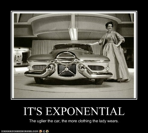 IT'S EXPONENTIAL The uglier the car, the more clothing the lady wears.