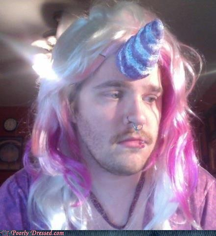 brony pink hair unicorn