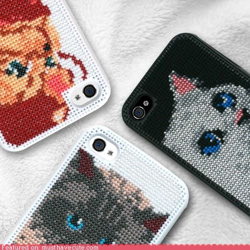 Cats cross stitch DIY iphone case plastic