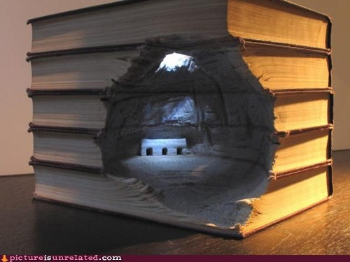 books bookworm carving house wtf