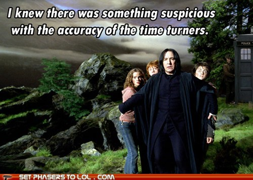 accuracy Alan Rickman Daniel Radcliffe doctor who emma watson harry Harry Potter hermione granger Ron Weasley rupert grint snape suspicious tardis the doctor time turner - 5827993600