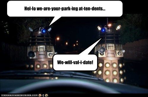 attendant,daleks,doctor who,parking,validate