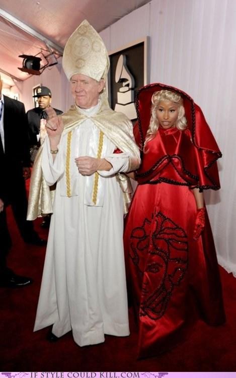 cool accessories Grammys nicki minaj pope red carpet - 5829226496