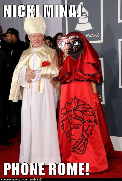 Aliens,E.T,ew,fashion,Grammys,gross,nicki minaj,phone home,pope