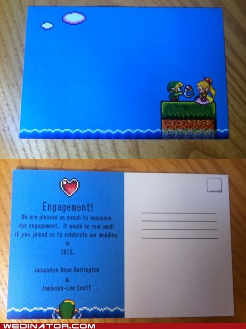 engagement funny wedding photos geek invitations invites rings video games zelda