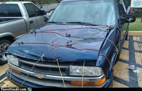 bungee cord,cars,hood,truck