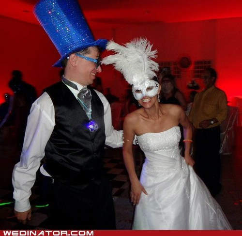 bride,funny wedding photos,groom,masks,masquerade,reception