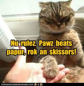 beats,caption,captioned,cat,new,paper,paws,rock,rock paper scissors,rules,scissors