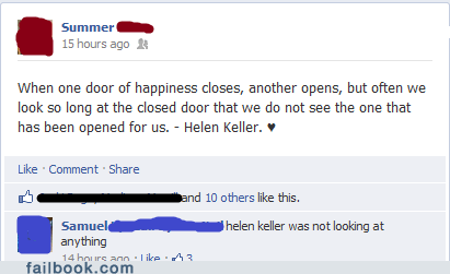 Hellen Keller,missing the point,witty reply