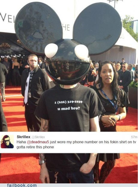 Deadmau5 failbook Featured Fail oh snap phone number skrillex u mad win - 5832774656