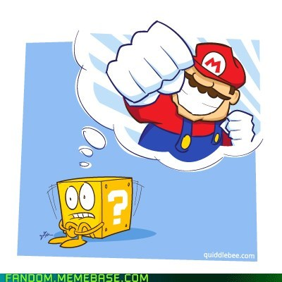 fan art super mario nintendo traumatized cube after mario punched it