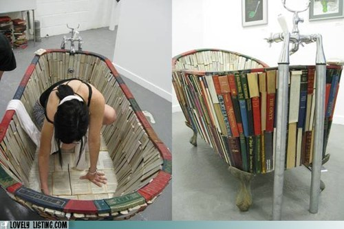 art,bathtub,books,sculpture