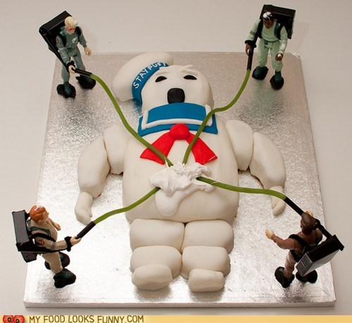action figures,awesome,cake,fondant,Ghostbusters,Movie,stay-pufft marshmallow ma