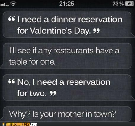 AutocoWrecks,dating,forever alone,g rated,mom,reservation,siri,Valentines day