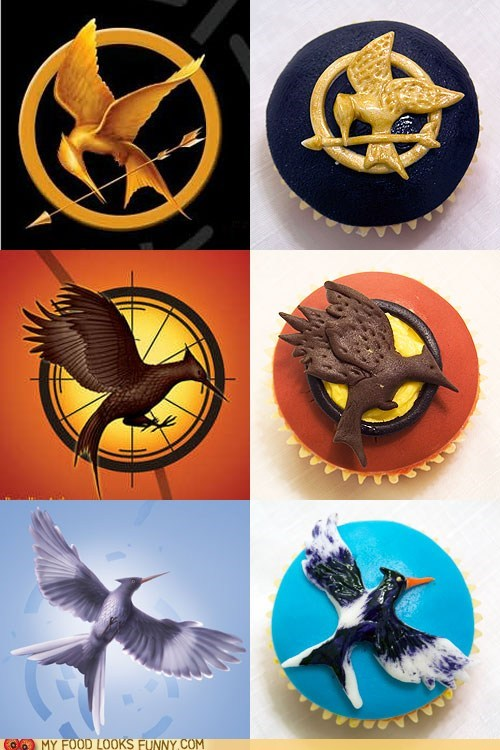 best of the week,bird,books,cupcakes,fondant,hunger games,logo,mockingjay,Movie