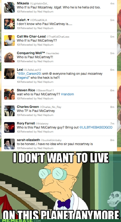 beatles,Grammys,i dont want to live on this planet anymore,musicians,paul mccartney,twitter