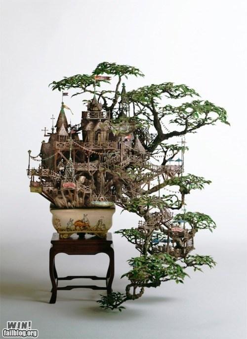 architecture art Bonsai design tiny tree house - 5834214912