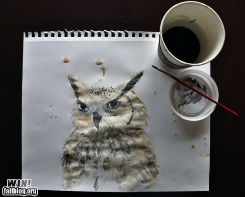 art coffee Owl painting - 5834270976