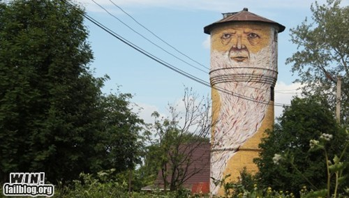 graffiti hacked irl Street Art water tower wizard - 5834284544