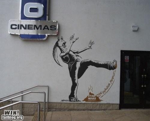 episode 1 graffiti hacked irl jar jar binks nerdgasm star wars Street Art - 5835168256