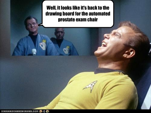 automated board Captain Kirk chair drawing prostate exam Shatnerday Star Trek William Shatner