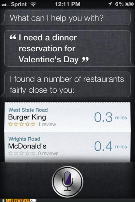 burger king,date,dating,fast food,McDonald's,reservation,restaurant,siri,Valentines day