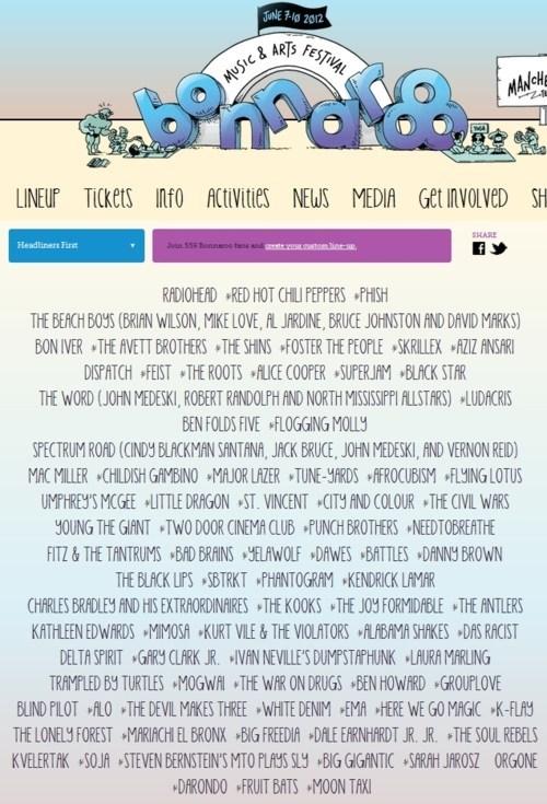 bonnaroo,Music Festival Lineup
