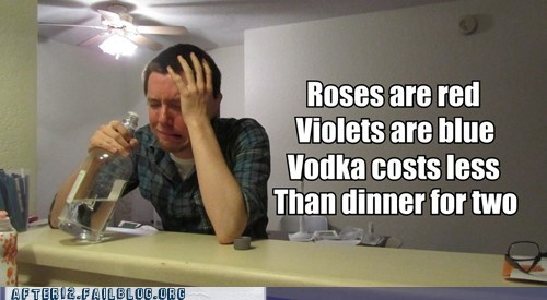 after 12 alcohol bar crying drinking poem poetry Valentines day vodka - 5838298624