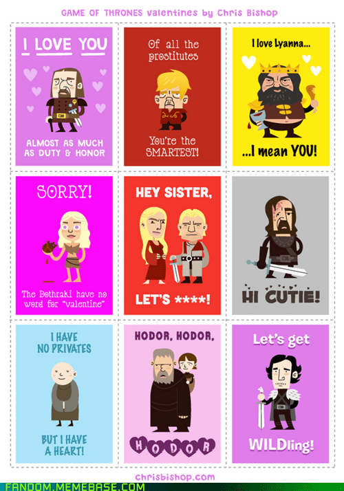 card Fan Art Game of Thrones Valentines day - 5838355712