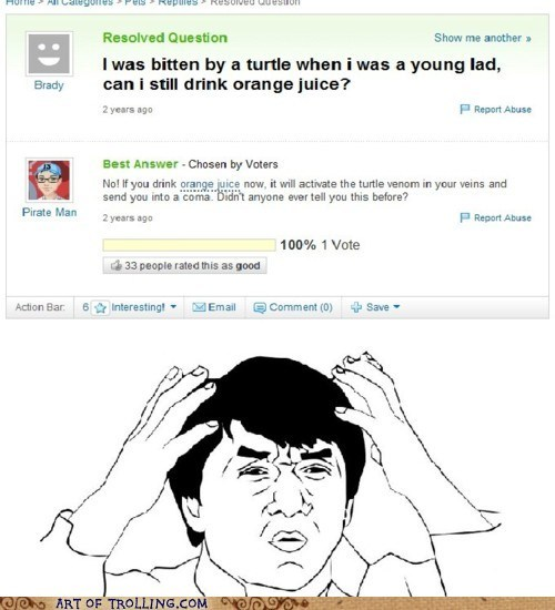 orange juice,turtle,wtf,Yahoo Answer Fails