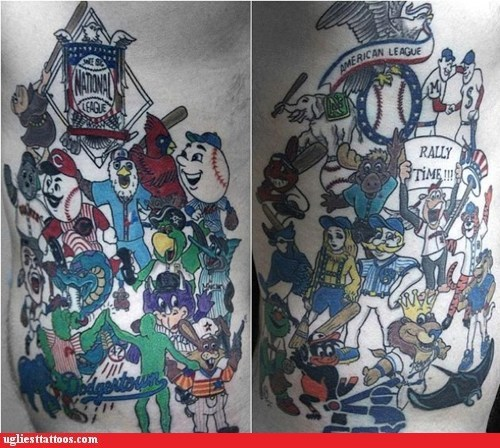american league,baseball,mascots,national league,sports tattoo