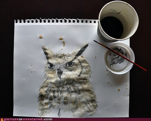 art,coffee,Owl,painting,wtf