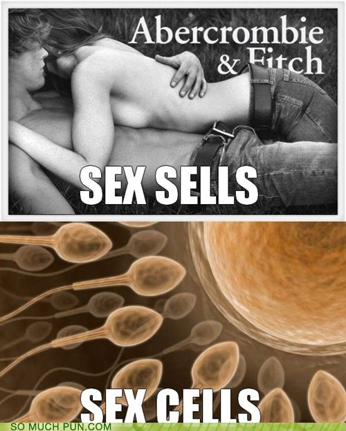 abercrombie-fitch,advertising,cells,double meaning,homophone,literalism,sells