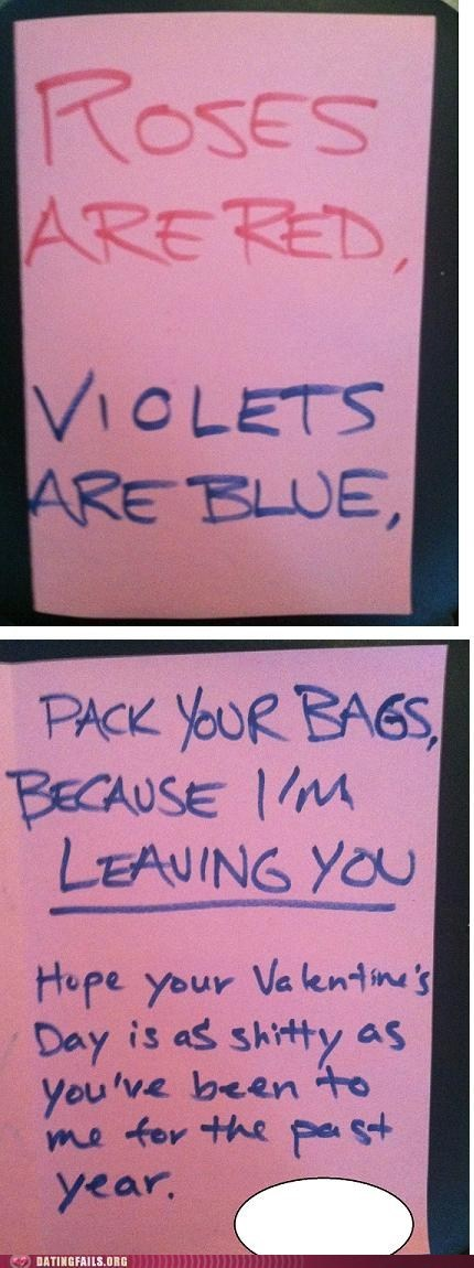 breakup dumped f you note poetry roses are red Valentines day - 5838676480