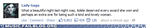 facebook Grammys how gracious lady gaga status - 5838762752