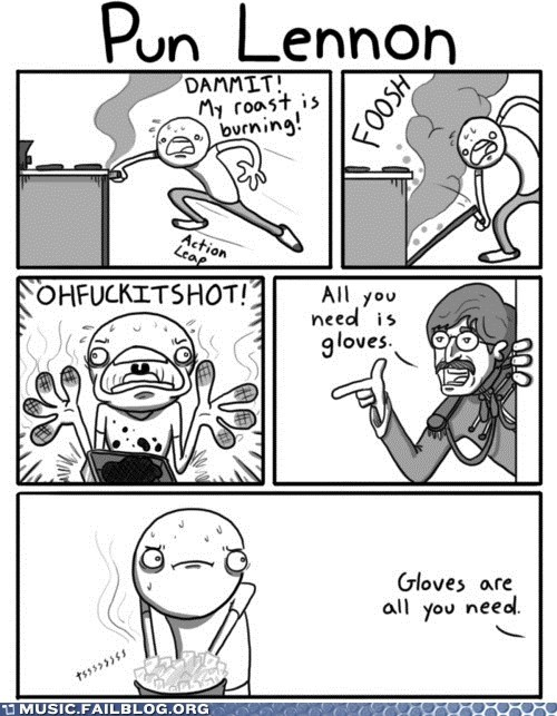 All you need is love,comic,cooking,gloves,john lennon,lennon,love,puns