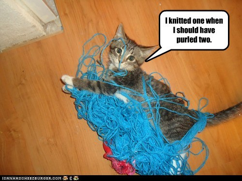 I knitted one when I should have purled two.