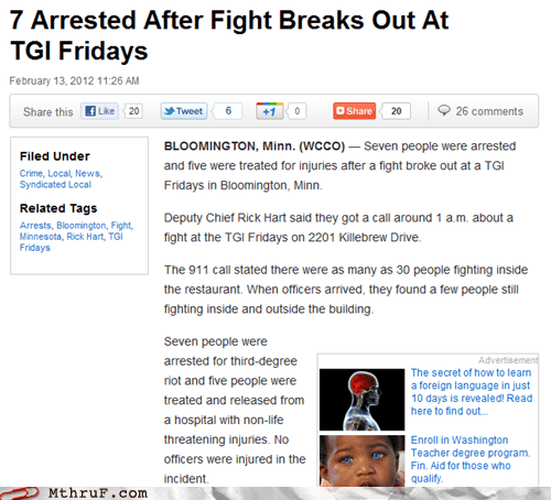restaurant fights riots TGI Fridays worth it - 5839114496