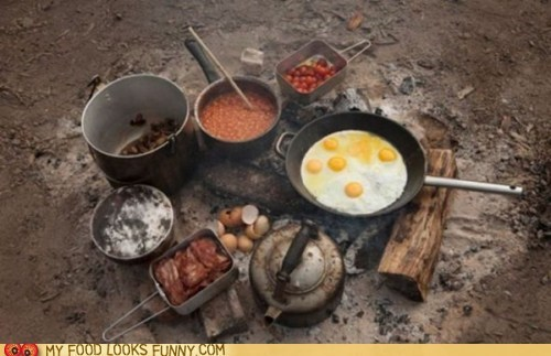 bacon,beans,breakfast,campfire,camping,cooking,drool,eggs