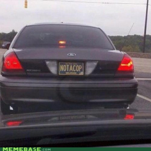 car cop IRL license plate