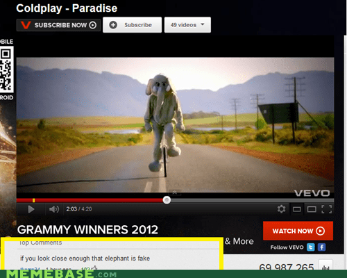 coldplay elephant fake youtube - 5839667456