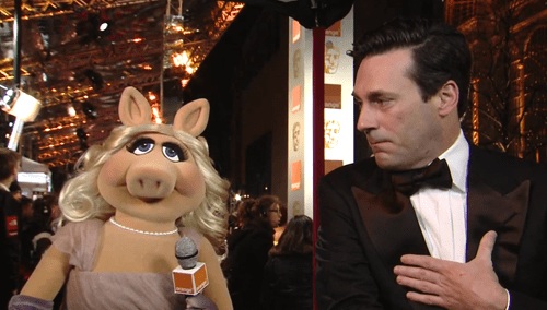 celeb,Daniel Radcliffe,Jon Hamm,jonah hill,miss piggy,red carpet,the muppets