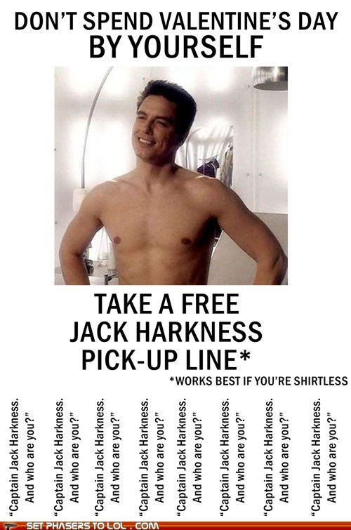 Captain Jack Harkness doctor who john barrowman pick-up lines shirtless Valentines day - 5840124928