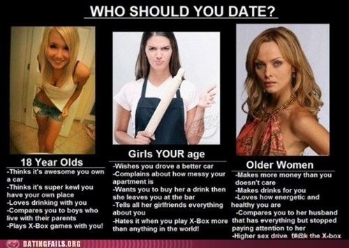 choose,choose wisely,dating fails,hey ladies,just right,too old,too young