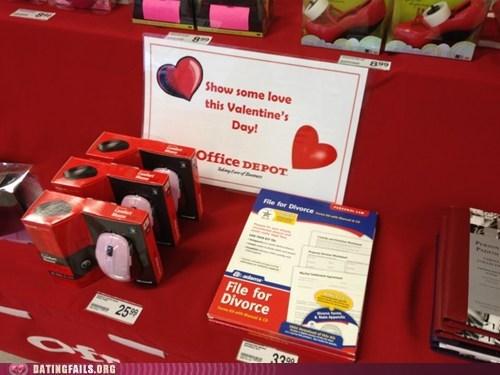 divorce office depot retail romantice true love Valentines day