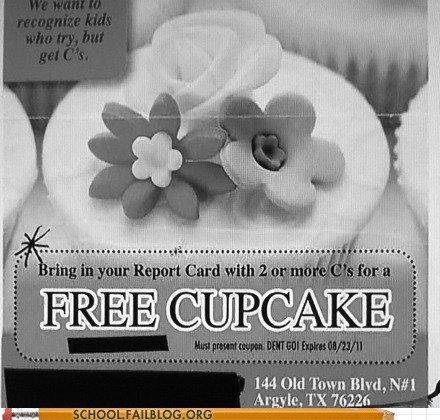 average c cupcakes mediocre report card - 5840249856