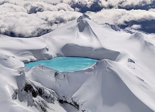 crater,getaways,lake,moutain,new zealand,snow,white,winter