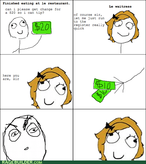 change,Rage Comics,tip,waitress