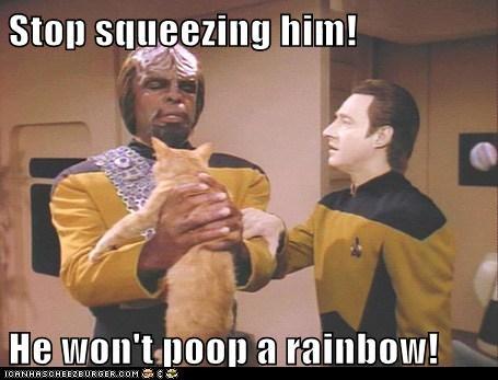 brent spiner data Michael Dorn Nyan Cat poop rainbow spot squeezing Star Trek Worf - 5840481792